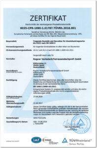 Rogner Variodach EN Zertifizierung Urkunde